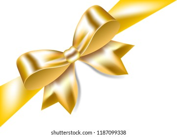 Gold bow with ribbon