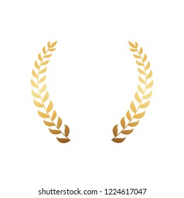 Gold branches of olive tree isolated on white background. Decorative framing elements  illustration in flat style design, symbol of wealth