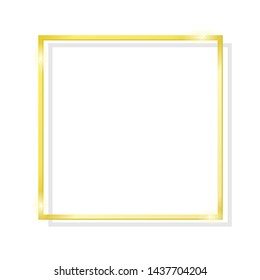 Gold brilliant square frame isolated on a white background