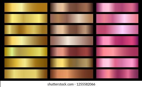 Gold, bronze, rose gold metallic foil texture gradients set. Golden metallic pink, beige gradient colorful illustration gradation for backgrounds, banner, user interface, flyers, ribbon, medal
