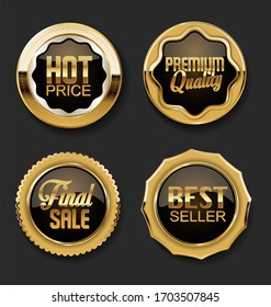 Gold and brown sale and premium quality badges