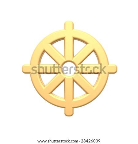 Gold Buddhism Symbol Computer Generated 3 D Stock Illustration