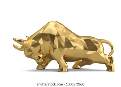 Gold bull on white background.3D illustration.