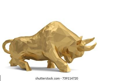 Gold bull on white background.3D illustration.