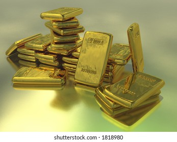 Gold bullion against a metallic backdrop