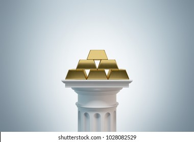 Gold bullions pyramid standing on a white column a gray background. Concept of financial growth. 3d rendering mock up