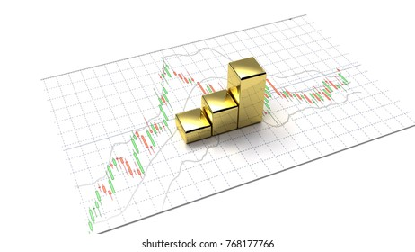 gold business graph and money background investment and financial investor stock market and money candlestick graph chart with indicator copy space minimal concept flat lay 3D illustration