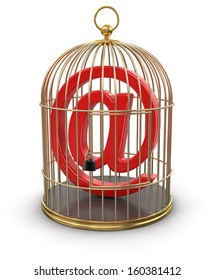 Gold Cage with E-Mail (clipping path included)