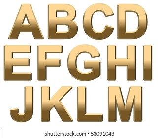 Gold Capital Letter Text on White A-M. 3D Render