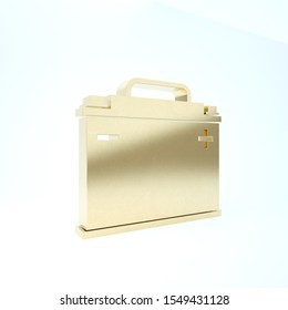 Gold Car battery icon isolated on white background. Accumulator battery energy power and electricity accumulator battery. 3d illustration 3D render