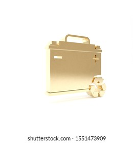 Gold Car battery with recycle icon isolated on white background. Accumulator battery energy power and electricity accumulator battery. 3d illustration 3D render