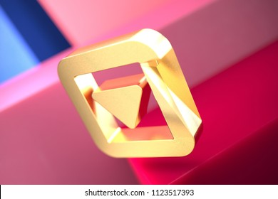 Gold Caret Down in Square Icon on the Pink and Blue Geometric Background. 3D Illustration of Gold Arrow, Caret, Down, Pointer, Select, Selector Icon Set With Color Boxes on the Pink Background.