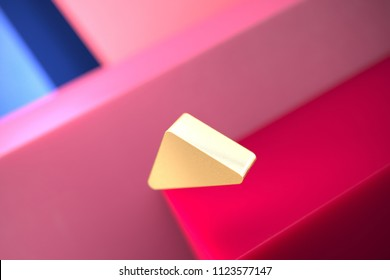 Gold Caret Up Icon on the Pink and Blue Geometric Background. 3D Illustration of Gold Arrow, Caret, Drop Up, Up, Upload Icon Set With Color Boxes on the Pink Background.