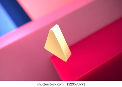 Gold Caret Left Icon on the Pink and Blue Geometric Background. 3D Illustration of Gold Arrow, Back, Care, Caret, Left, Previous Icon Set With Color Boxes on the Pink Background.