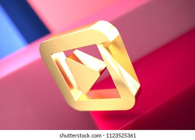 Gold Caret Right in Square Icon on the Pink and Blue Geometric Background. 3D Illustration of Gold Arrow, Audio, Caret, Next, Play, Player, Right Icon Set With Color Boxes on the Pink Background.