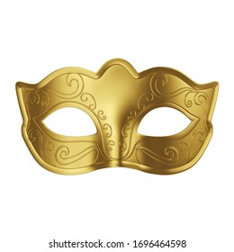 Gold carnival mask isolated on white background. Creative minimal design art. 3d illustration.