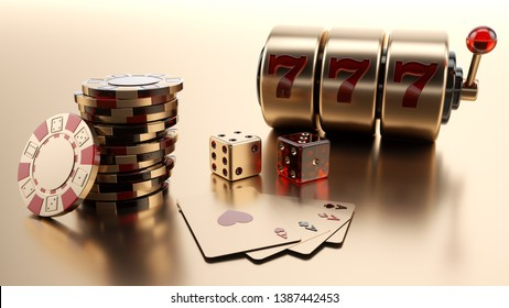 Gold Casino Chips, Dices, Four Aces And Slot Machine Isolated On The Golden Background - 3D Illustration