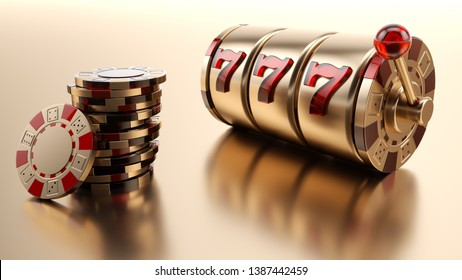 Gold Casino Chips And Slot Machine Isolated On The Golden Background - 3D Illustration