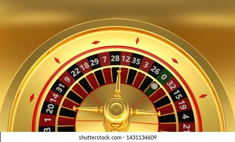 Gold Casino Roulette Wheel Concept - 3D Illustration