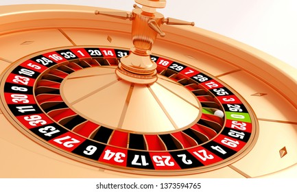 Gold casino roulette wheel isolated on white background. The ball on the roulette. 3d rendering illustration.