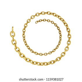 gold chain in the form of a circle, isolated on a white background 3d illustration