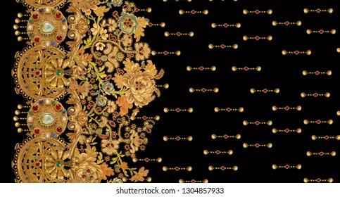 gold chain metal texture  baroque elegance pattern
