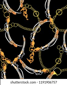 Gold chain and yellow baroque  belt pattern .