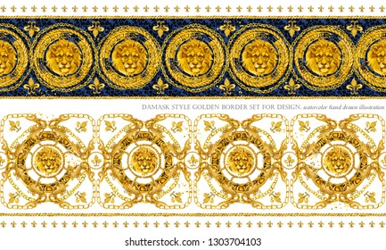 gold chains seamless border. luxury illustration. golden Lion head and lace. damask pattern design. vintage riches background.