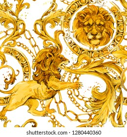 gold chains seamless pattern. luxury illustration. golden lion. love design. diamond luxury jewelry. riches seamless background.