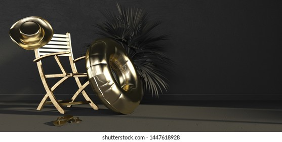 Gold chair, inflatable circle, hat and flip-flops on black background. The concept of a super luxury hotel. Luxury vacation. 5 star hotel. 3D rendering.
