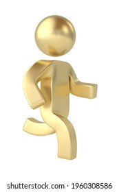 Gold Character isolated on white background. 3D illustration.