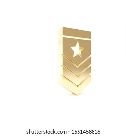 Gold Chevron icon isolated on white background. Military badge sign. 3d illustration 3D render