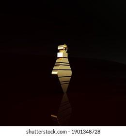 Icône à balle de Noël doré isolée sur fond marron. Joyeux Noël et Bonne année. Concept de minimalisme. Illustration 3d rendu 3D.