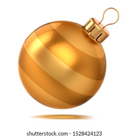 Gold Christmas ball shiny decor yellow. Happy New Year bauble sparkling. Xmas decoration sphere hanging adornment modern traditional symbol. 3d rendering