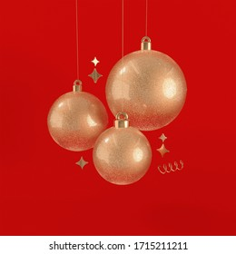 Gold Christmas Decoration 3d Scene With Red Background