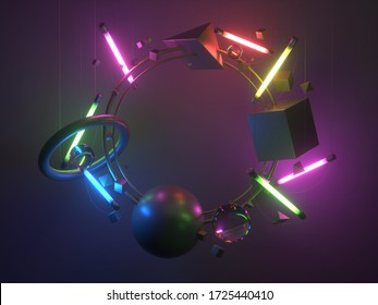 Gold circle frame with fluorescent lamps and primitive. 3d rendering.