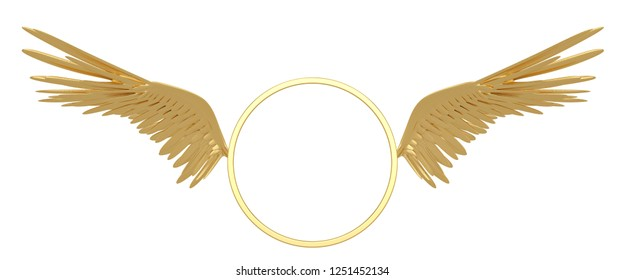 Gold circle with wings isolated on white background 3D illustration.