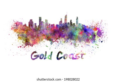 Gold Coast skyline in watercolor splatters with clipping path