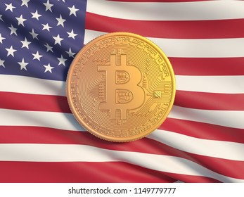 Gold coin Bitcoin against the background  flag of Danmark. Symbolic image of virtual currency. Business concept of worldwide cryptocurrency.