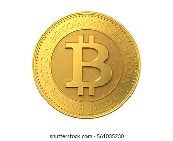 Gold coin with bitcoin sign. 3d rendering.