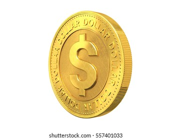 Gold coin with dollar sign. 3d rendering.