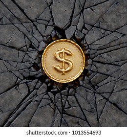 Gold coin with dollar sign breaking the rock. 3d illustration.