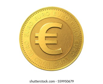 Gold coin with euro sign. 3d rendering.