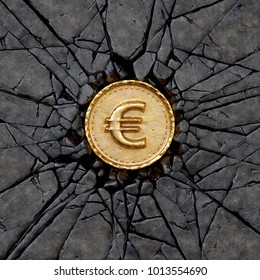 Gold coin with euro sign breaking the rock. 3d illustration.