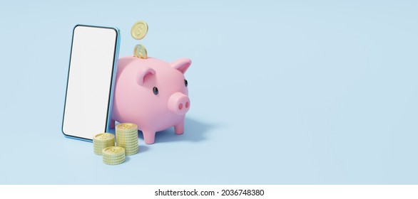 Gold coin falling into pink piggy bank. Phone with stacks coins. Mobile banking and Online payment service. Save dollar in Pig money box. Saving money wealth and business financial concept. 3d render.
