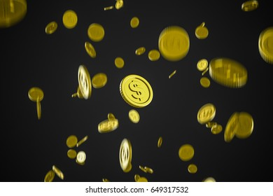 Gold coin falls from high, business ideas for finance, 3D Rendering.