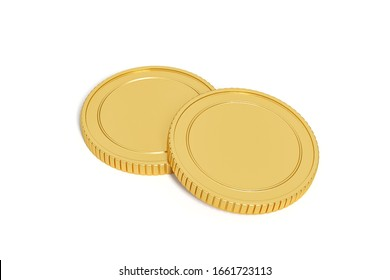 gold coin isolated on white background. 3d rendering