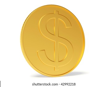 gold coin on white background