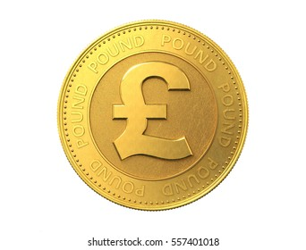 Gold coin with pound sign. 3d rendering.