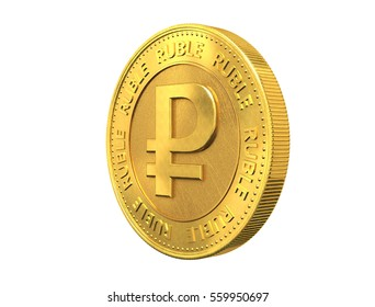 Gold coin with ruble sign. 3d rendering.